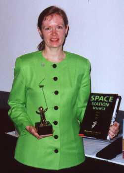 Marianne with golden kite trophy.